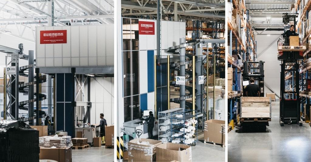 Tres imágenes del interior del almacén con puertos AutoStore y sistema de transporte