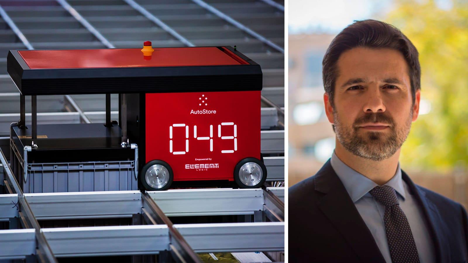 A la izquiera, imagen de un robot de AutoStore y a la derecha, imagen del director de Element Logic España