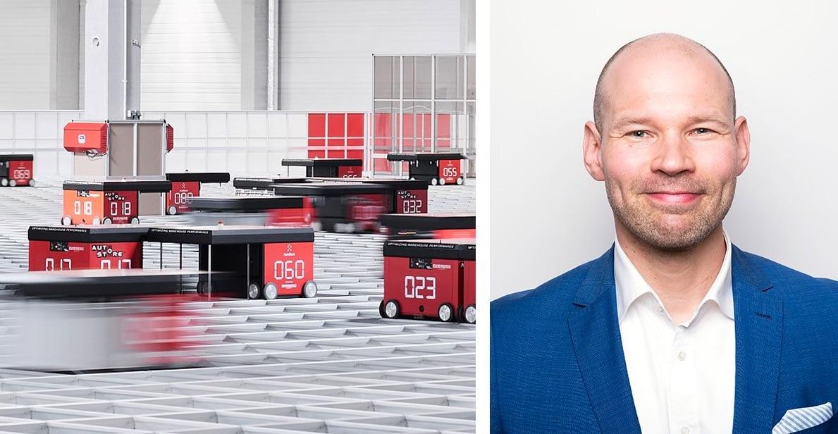 A la izquierda, robots de AutoStore desplazándose por la cuadrícula y a la derecha, el nuevo director de Ventas de Element Logic en Finlandia