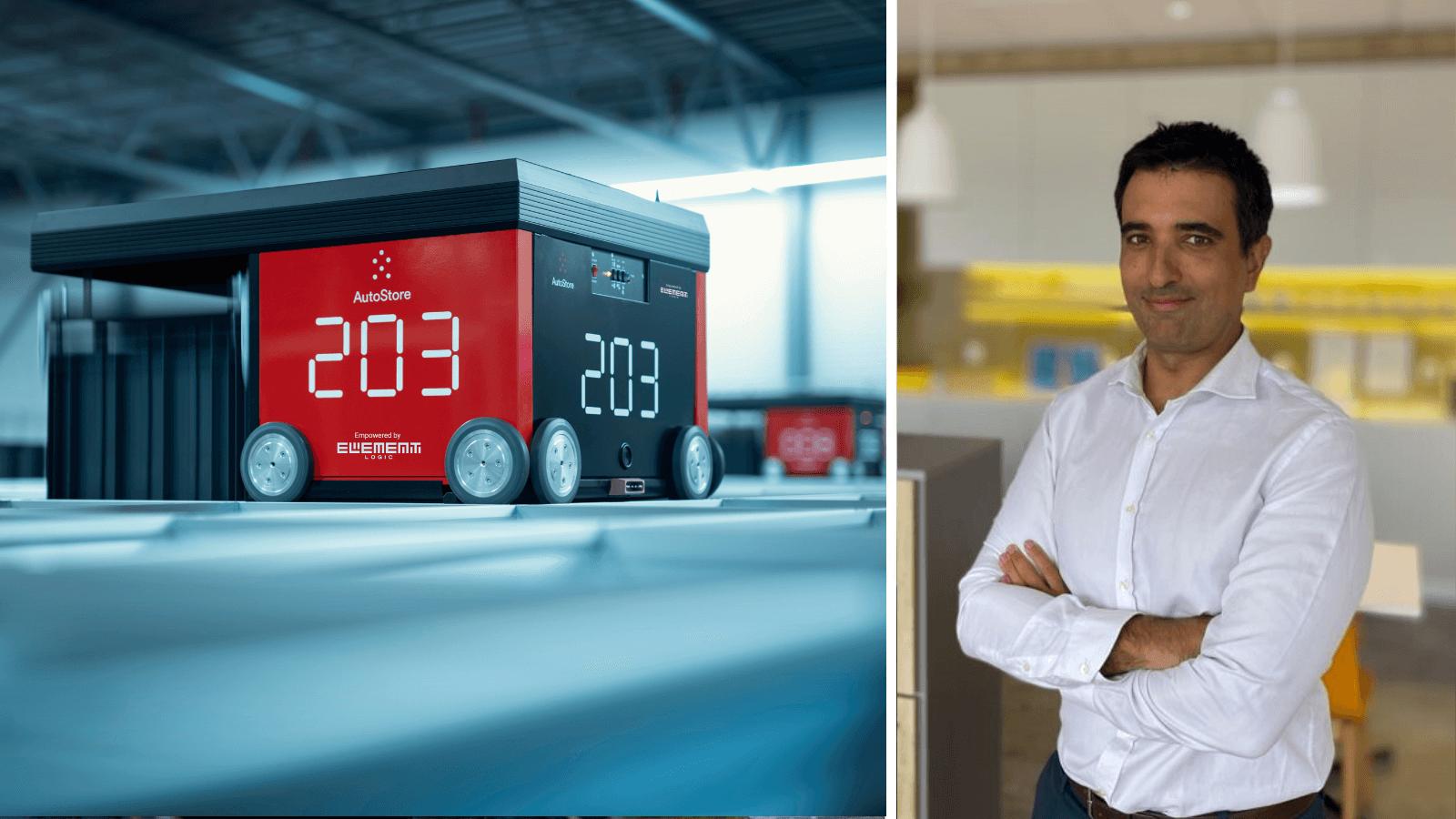 a la izquierda, imagen de un robot de AutoStore y a la derecha, del nuevo sales manager de Element Logic España